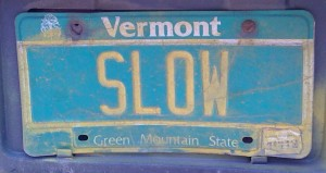 SLOW License plate